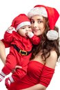 Mom and baby dress as santa isolated on white Stock Photo