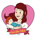 Blonde Mom and Baby with a Ribbon for Mother's Day, Vector Illustration