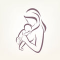 Mom and baby stylized vector symbol