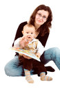 Mom and child with a book Stock Images