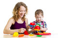Mom and child boy playing together Royalty Free Stock Photo