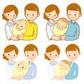 The mom and dad holding newborn baby. Home and Family Character Stock Images