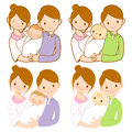 The mom and dad holding newborn baby. Home and Family Character Stock Photo