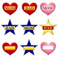 Mom and Dad Stars Hearts Icons Royalty Free Stock Photo