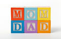 Mom and dad words written with play blocks Stock Photo
