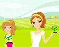 Mom and daughter care about the environment illustration Stock Photo