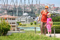 Mom and daughter consider house istanbul july in miniaturk museum on july in istanbul turkey in park area of ​​over square Stock Images