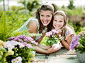 Mom and daughter have fun in the work of gardening a greenhouse Stock Photography