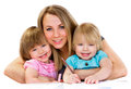 Mom and daughters, happy family Stock Photo