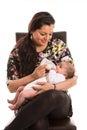 Mom feed newborn baby with milk Royalty Free Stock Photo