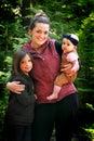 Mom Holds Cute Children