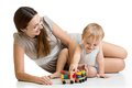 Mom and kid boy playing block toys at home Royalty Free Stock Photo