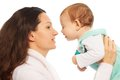 Mom kiss baby happy mother holding little and about to her Royalty Free Stock Images