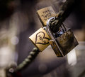 Mom lock love a with a heart and locked to a metal rope Stock Images
