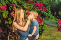 Mom looks at his son who is allergic to pollen Royalty Free Stock Photo