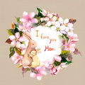 Mom rabbit embrace her child in apple flowers wreath. Greeting card for Mothers day. Watercolor