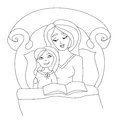 Mom reading a book to her kid Royalty Free Stock Photo