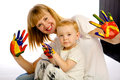 Mom and son paint colors studio white background Stock Photography