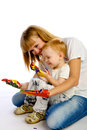 Mom and son paint colors studio white background Stock Images