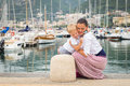 Mom and son on the waterfront a beautiful summer day leisure at sea beautiful yachts water Stock Photo