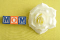 Mom spelled with alphabet blocks Royalty Free Stock Photo