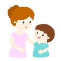 Mom talk to her son gently cartoon
