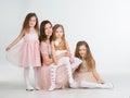 Mom with three kids Girls Royalty Free Stock Photo