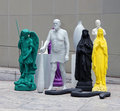 Moma sculpture garden group of sculptures in different colors yellow green black purple and white by the sculptor katharina Royalty Free Stock Images