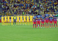 Moment of silence for a dead football fan is kept before the romanian supercup between steaua bucharest and petrolul ploiesti Stock Image