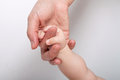 Mommy and baby holding s hand on white background Stock Photography