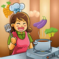 Mommy Love Cooking Stock Images