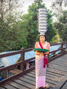 Mon woman, minority group in Thailand, showing her skill Royalty Free Stock Photo