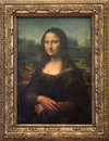 Mona Lisa canvas at Louvre Museum in Paris