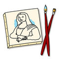 Mona Lisa Canvas Painting with Brushes Royalty Free Stock Image
