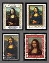 Mona Lisa Postage Stamps