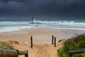 Mona vale rockpool in a metre swell on sydney s northern beaches being smashed by large waves Stock Image