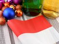 Monaco flag with christmas decoration new year card Stock Photography