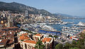 Monaco monte carlo panorama may harbour and panoramic viewed from the palace square on may in Stock Photography