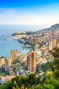 Monaco montecarlo principality aerial view azure coast france cityscape skyscrapers mountains and marina europe Stock Photo
