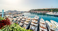 Monaco panoramic view of port in luxury yachts in a row Royalty Free Stock Image