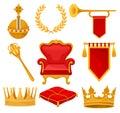 Monarchy attributes set, golden orb, laurel wreath, trumpet, throne, scepter, ceremonial pillow, crown, flag, heraldic
