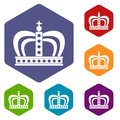 Monarchy crown icons set hexagon