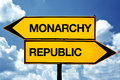 Monarchy or republic opposite signs two opposite road signs against blue sky background Stock Image