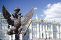 Monarchy symbol scepter and power on a fencing on palace square Stock Images