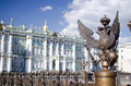 Monarchy symbol scepter and power on a fencing on palace square Stock Photography
