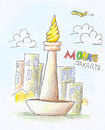 Monas color pencil draw Royalty Free Stock Photo