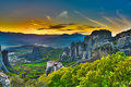 Monasteries on the rocks, Meteora, Greece Royalty Free Stock Photo