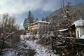 Monastery in balkan mountains near troyan bulgaria captured during winter Royalty Free Stock Photo