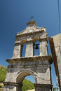 Monastery bell tower in greek village Stock Image