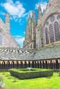 The monastery garden in the abbey of mont saint michel normandy france Royalty Free Stock Photos